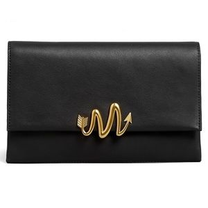 MACKAGE DOLI black leather clutch with M button